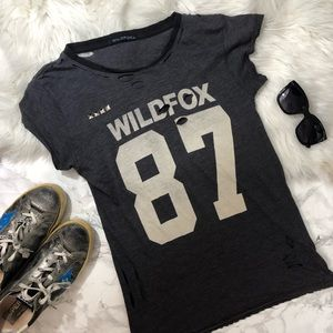 Wildfox 87 distressed jersey tee shirt